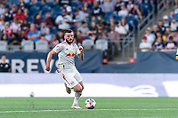 FOXBOROUGH, MA - JUNE 23: Thomas Edwards #7 of New York Red Bulls brings the ball forward during a game between New York Red Bulls and New England Revolution at Gillette Stadium on June 23, 2021 in Foxborough, Massachusetts.