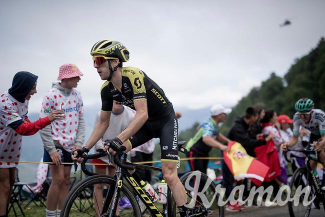 Eventuam stage winner Simon Yates (GBR/Mitchelton-Scott) is the first up the Horquette d'Ancizan <br /> <br /> Stage 12: Toulouse to Bagnères-de-Bigorre(209km)<br /> 106th Tour de France 2019 (2.UWT)<br /> <br /> ©kramon