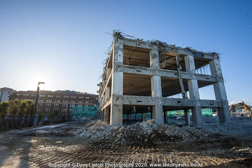 BNZ building demoltion site. CentrePort in Wellington, New Zealand on Tuesday, 15 September 2020. Photo: Dave Lintott / lintottphoto.co.nz