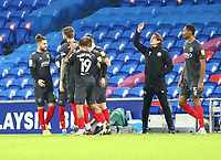26th December 2020; Cardiff City Stadium, Cardiff, Glamorgan, Wales; English Football League Championship Football, Cardiff City versus Brentford; Brentford players celebrate after Sergi Canós of Brentford scores the equalizer making it 1-1 in the 50th minute