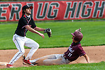 SOUTHBURY, CT 050721JS05—Bethel's Kyle McLoughlin (11) slides safely into second base while Pomperaug's Chris Salzo (2) awaits the throw during their game Friday at Pomperaug High School. <br /> Jim Shannon Republican American