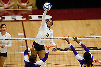 STANFORD, CA - DECEMBER 5:  Foluke Akinradewo of the Stanford Cardinal during Stanford's 3-0 win over Albany in the NCAA Division 1 Women's Volleyball first round on December 5, 2008 at Maples Pavilion in Stanford, California.
