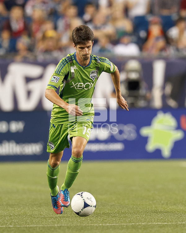 Seattle Sounders FC substitute midfielder Alvaro Fernandez (15) brings the ball forward. In a Major League Soccer (MLS) match, the New England Revolution tied the Seattle Sounders FC, 2-2, at Gillette Stadium on June 30, 2012.