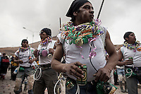 A picture dated Saturday January 26, 2013 shows a group of miners dancing at the Miners Carnival in the Andes city of Potosi in Bolivia. Already in 1663 the Spanish chronicler Marquez Jerez de los Caballeros described the colorful  miners carnival in Potosi. Four centuries later, the tradition of the legendary Cerro Rico miners is  still alive ..