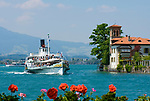 CHE, Schweiz, Kanton Bern, Berner Oberland, Oberhofen: Villa am Thunersee -Raddampfer Bluemlisalp | CHE, Switzerland, Bern Canton, Bernese Oberland, Oberhofen: Villa at Lake Thun - paddle steamer Bluemlisalp