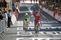Greg Van Avermaet (BEL/BMC) outsprints Peter Sagan (SVK/Cannondale) for victory.<br /> <br /> stage 13: Muret - Rodez<br /> 2015 Tour de France