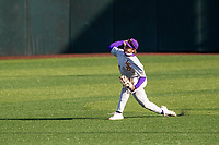 LSU Tigers outfielder Will Safford (17) warms up prior to the game against the Tennessee Volunteers on Robert M. Lindsay Field at Lindsey Nelson Stadium on March 26, 2021, in Knoxville, Tennessee. (Danny Parker/Four Seam Images)