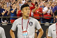 CHARLOTTE, NC - OCTOBER 3: Assistant coach Yooseok Chun of Korea Republic during a game between Korea Republic and USWNT at Bank of America Stadium on October 3, 2019 in Charlotte, North Carolina.