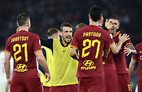 Football, Serie A: AS Roma - AC Milan, Olympic stadium, Rome, October 27, 2019. <br /> Roma's Alessandro Florenzi (c) celebrates with his teammates after winning 2-1 the Italian Serie A football match between Roma and Milan at Olympic stadium in Rome, on October 27, 2019. <br /> UPDATE IMAGES PRESS/Isabella Bonotto