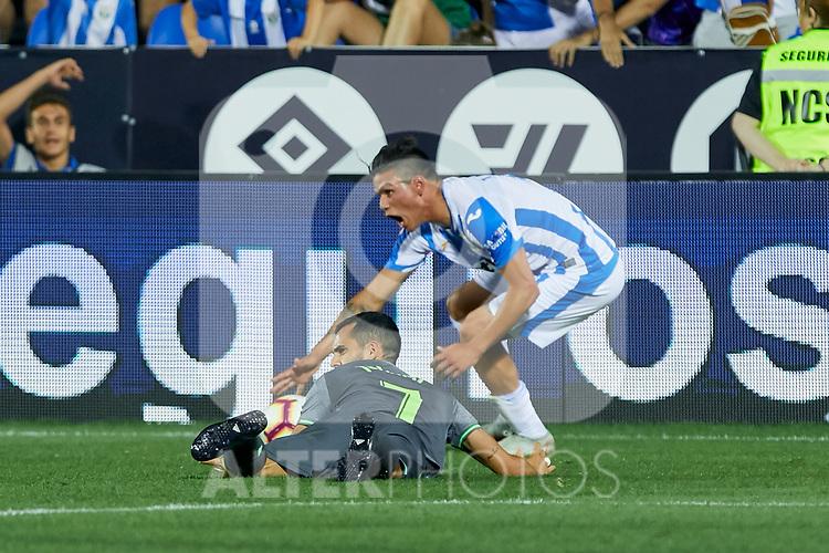 Leganes' Jonathan Cristian Silva and Real Sociedad's Juan Miguel Jimenez during La Liga match. August 24, 2018. (ALTERPHOTOS/A. Perez Meca)