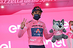Race leader Egan Bernal (COL) Ineos Grenadiers retains the Maglia Rosa at the end of Stage 16 of the 2021 Giro d'Italia, running 212km from Sacile to Cortina D'Ampezzo, Italy. 24th May 2021.  <br /> Picture: LaPresse/Gian Mattia D'Alberto | Cyclefile<br /> <br /> All photos usage must carry mandatory copyright credit (© Cyclefile | LaPresse/Gian Mattia D'Alberto)