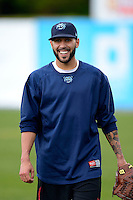 Mobile BayBears pitcher Eric Smith #21 during practice before a game against the Pensacola Blue Wahoos on April 14, 2013 at Hank Aaron Stadium in Mobile, Alabama.  Mobile defeated Pensacola 5-2.  (Mike Janes/Four Seam Images)