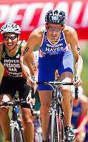 27 MAY 2012 - MADRID, ESP - Stuart Hayes (GBR) of Great Britain on the bike during the elite men's 2012 World Triathlon Series round in Casa de Campo, Madrid, Spain (PHOTO (C) 2012 NIGEL FARROW)
