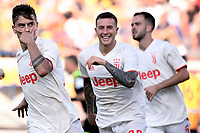 Paulo Dybala of Juventus celebrates after scoring the goal of 0-1 with Federico Bernardeschi <br /> Lecce 26-10-2019 Stadio Via del Mare <br /> Football Serie A 2019/2020 <br /> US Lecce - Juventus FC <br /> Photo Federico Tardito / Insidefoto