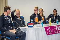 Bratislava, Slovenia, April 21, 2017,  FedCup: Slovakia-Netherlands, Draw ceremony, Dutch table<br /> Photo: Tennisimages/Henk Koster