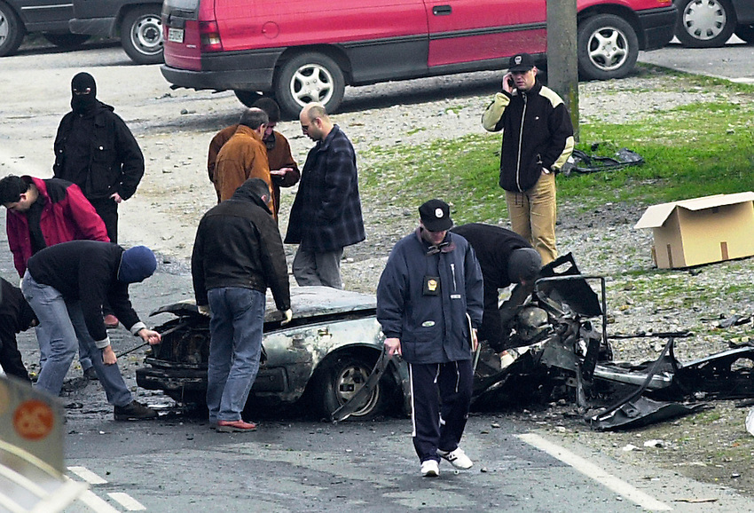 The scene of a car bombing in Donostia / San Sebastian on 22nd February 2001 in wich two men were killed and four,including a Socialist Party Councillor, were wounded..Photo: Ander Gillenea