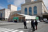 Carabinieri arer seen in Vaccine Center of Stazione Marittima in Naples