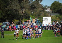 Players go up for lineout ball during the Taranaki club rugby match between New Plymouth Old Boys and Tukapa at Vogeltown Park, New Plymouth, New Zealand on Saturday, 27 April 2013. Photo: Dave Lintott / lintottphoto.co.nz