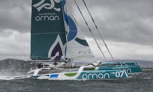 The MOD70 Musadnam Oman in Dublin Bay after her first breaking of the round Ireland record in 2015.