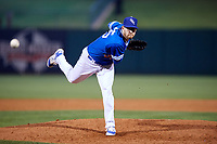 Oklahoma City Dodgers relief pitcher Jacob Rhame (35) delivers a pitch during a game against the Colorado Springs Sky Sox on June 2, 2017 at Chickasaw Bricktown Ballpark in Oklahoma City, Oklahoma.  Colorado Springs defeated Oklahoma City 1-0 in ten innings.  (Mike Janes/Four Seam Images)