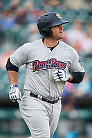 Scranton/Wilkes-Barre RailRiders first baseman Mike Ford (25) runs to first base during a game against the Buffalo Bisons on May 18, 2018 at Coca-Cola Field in Buffalo, New York.  Buffalo defeated Scranton 5-1.  (Mike Janes/Four Seam Images)