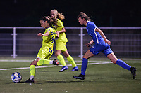 Shari Van Belle (8) of AA Gent and Kelsey Geraedts (17) of KRC Genk pictured during a female soccer game between  Racing Genk Ladies and AA Gent Ladies ,  on the 6 th  matchday of the 2021-2022 season of the Belgian Scooore Womens Super League , friday 8 october 2021  in Genk , Belgium . PHOTO SPORTPIX | JILL DELSAUX