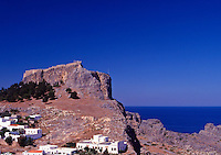 Greece. Dodecanese Islands. Rhodes.The Acropolis at Lindos village