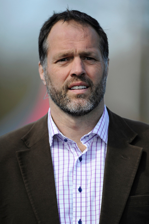 BT Sport presenter Martin Bayfield during the Aviva Premiership Rugby match between Saracens and Leicester Tigers at Allianz Park on Saturday 11th April 2015 (Photo by Rob Munro)