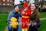 Flash the superhero Noah O'Connor with his dad and mom Paul and Leonie O'Connor in the Tralee town park on Monday.