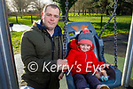 Little Aoibheann O'Donnell with her dad Jamie enjoying the swings in the Tralee Town Park on Sunday