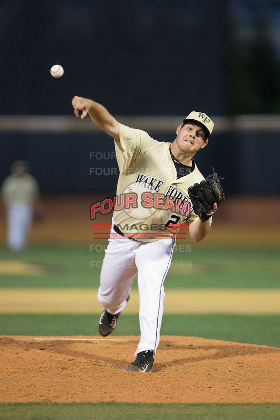 Wake Forest Demon Deacons relief pitcher Parker Johnson (27) delivers a pitch to the plate against the UConn Huskies at Wake Forest Baseball Park on March 17, 2015 in Winston-Salem, North Carolina.  The Demon Deacons defeated the Huskies 6-2.  (Brian Westerholt/Four Seam Images)