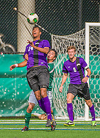 19 October 2013: University at Albany Great Dane Forward Brandon Wilson, a Junior from Troy, NY, in action against the University of Vermont Catamounts at Virtue Field in Burlington, Vermont. The Catamounts defeated the visiting Danes 2-1. Mandatory Credit: Ed Wolfstein Photo *** RAW (NEF) Image File Available ***