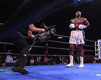 NEWARK, NJ - JULY 31: Jonathan Rice (white trunks) after defeating Michael Coffie (silver/black trunks) on the Fox Sports PBC Fight Night at Prudential Center on July 31, 2021 in Newark, New Jersey. (Photo by Frank Micelotta/Fox Sports/PictureGroup)
