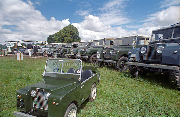 Driveable Land Rover Series 1 toy car 'Toria' on display within it's original relatives at the 1998 Land Rover Series 1 Club event in Shugborough, UK. NO RELEASES AVAILABLE. Automotive trademarks are the property of the trademark holder, authorization may be needed for some uses.