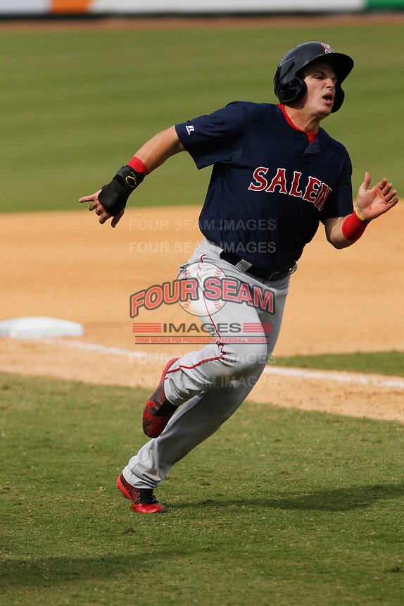 Salem Red Sox outfielder Tate Matheny (19) scoring from third base during a game against the Down East Wood Ducks at Grainger Stadium on April 16, 2017 in Kinston, North Carolina. Salem defeated Down East 9-2. (Robert Gurganus/Four Seam Images)