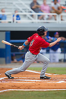 Sean Miller (4) of the Elizabethton Twins follows through on his swing against the Kingsport Mets at Hunter Wright Stadium on July 8, 2015 in Kingsport, Tennessee.  The Mets defeated the Twins 8-2. (Brian Westerholt/Four Seam Images)