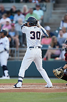 Oswald Peraza (30) of the Somerset Patriots at bat against the Altoona Curve at TD Bank Ballpark on July 24, 2021, in Somerset NJ. (Brian Westerholt/Four Seam Images)
