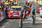 Romain Bardet (FRA) AG2R La Mondiale crosses the finish line at the end of Stage 16 of the 2019 Tour de France running 177km from Nimes to Nimes, France. 23rd July 2019.<br /> Picture: Colin Flockton   Cyclefile<br /> All photos usage must carry mandatory copyright credit (© Cyclefile   Colin Flockton)