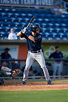 Mobile BayBears Connor Justus (7) at bat during a Southern League game against the Mobile BayBears on July 25, 2019 at Blue Wahoos Stadium in Pensacola, Florida.  Pensacola defeated Mobile 2-1 in the first game of a doubleheader.  (Mike Janes/Four Seam Images)