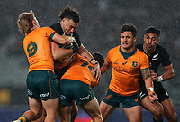 NZ's David Havili's is tackled during the Bledisloe Cup rugby match between the New Zealand All Blacks and Australia Wallabies at Eden Park in Auckland, New Zealand on Saturday, 14 August 2021. Photo: Simon Watts / lintottphoto.co.nz / bwmedia.co.nz