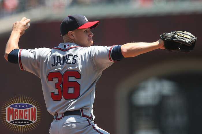 SAN FRANCISCO - AUGUST 6:  Chuck James of the Atlanta Braves pitches during the game against the San Francisco Giants at AT&T Park in San Francisco, California on August 6, 2008.  The Giants defeated the Braves 3-2.  Photo by Brad Mangin