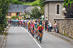 The peloton led by Bahrain Victorious during Stage 18 of the 2021 Tour de France, running 129.7km from Pau to Luz Ardiden, France. 15th July 2021.  <br /> Picture: A.S.O./Charly Lopez   Cyclefile<br /> <br /> All photos usage must carry mandatory copyright credit (© Cyclefile   A.S.O./Charly Lopez)