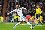 Luka Modric of Real Madrid in action during the UEFA Champions League 2017-18 Round of 16 (1st leg) match between Real Madrid vs Paris Saint Germain at Estadio Santiago Bernabeu on February 14 2018 in Madrid, Spain. Photo by Diego Souto / Power Sport Images