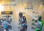 Jan Bakelants (BEL) AG2R La Mondiale wins the 2015 GranPiemonte race with Matteo Trentin (ITA) Etixx-Quick Step in 2nd place and Sonny Colbrelli (ITA) Bardiani CSF 3rd, celebrating on the podium in Cirie, Italy. 2nd October 2015.<br /> Picture: Claudio Peri/ANSA | Newsfile