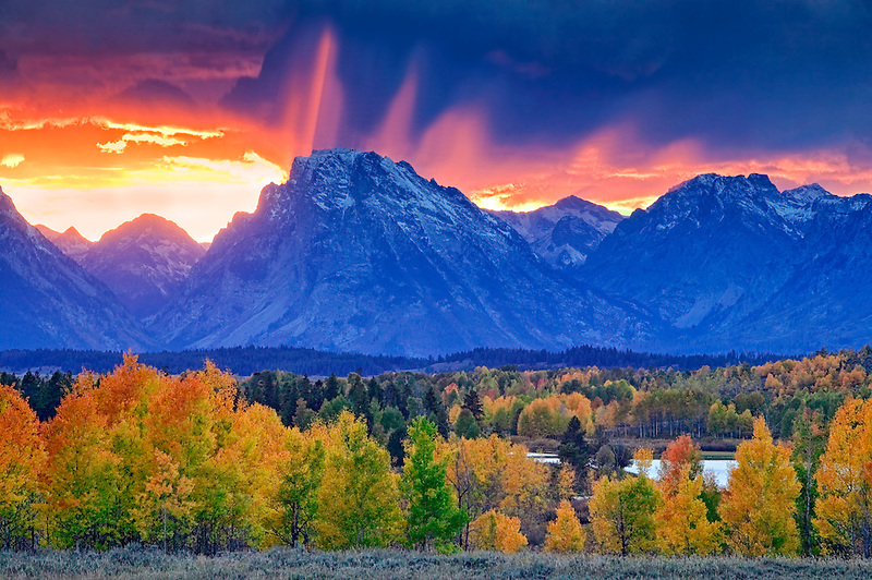 Oxbow Bend on Snake River with storm clouds and sunset, and fall color. Teton National Park, Wyoming