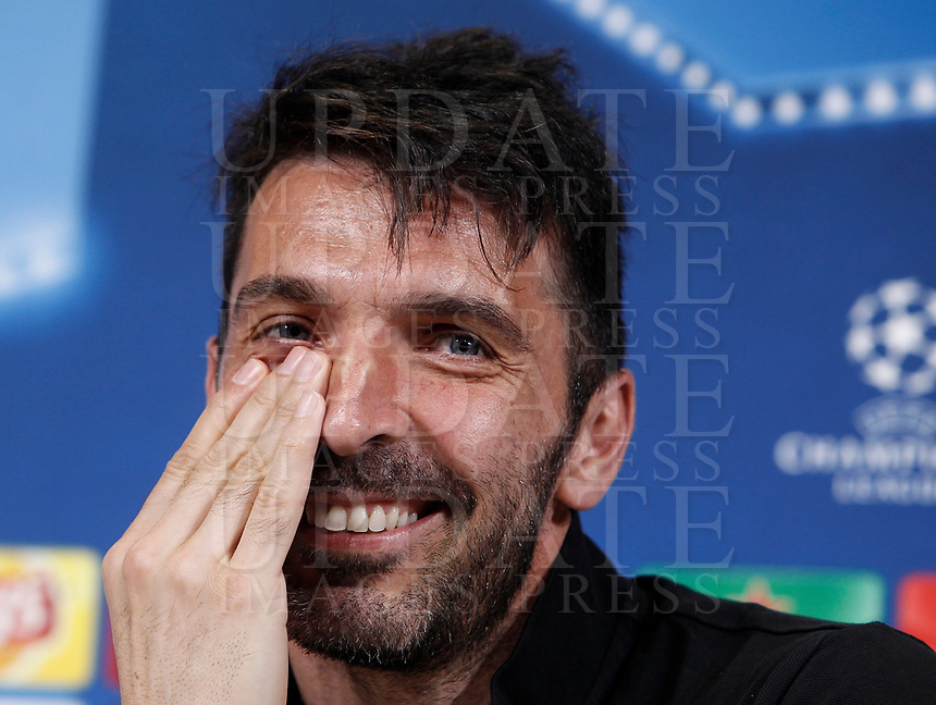 Football Soccer - Juventus Press conference- Uefa Champions League, Juventus stadium, Turin, Italy, april 10, 2017.<br /> Juventus Gianluigi Buffon smiles during a news conference before the match against Barcelona.