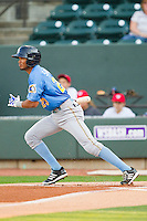 Luis Sardinas (23) of the Myrtle Beach Pelicans follows through on his swing against the Winston-Salem Dash at BB&T Ballpark on May 15, 2013 in Winston-Salem, North Carolina.  The Pelicans defeated the Dash 9-2.  (Brian Westerholt/Four Seam Images)