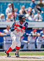 22 July 2018: Syracuse SkyChiefs infielder Irving Falu in action against the Louisville Bats at NBT Bank Stadium in Syracuse, NY. The Bats defeated the Chiefs 3-1 in AAA International League play. Mandatory Credit: Ed Wolfstein Photo *** RAW (NEF) Image File Available ***