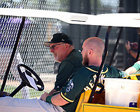 Craig Lefferts, rehab coach (left), Chris Herrmann (right) - Oakland Athletics 2019 extended spring training (Bill Mitchell)