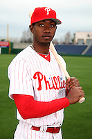February 24, 2010:  Outfielder Domonic Brown (78) of the Philadelphia Phillies poses during photo day at Bright House Field in Clearwater, FL.  Photo By Mike Janes/Four Seam Images